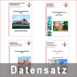 Beispielansichten von Deckblättern von Grundstücksmarktberichten der regionalen Gutachterausschüsse und des Oberen Gutachterausschusses - pdf-Datei
