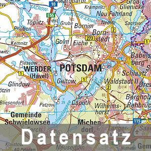 Ausschnitt aus der Digitalen Topographischen Landeskarte 1 : 250 000 - Normalausgabe