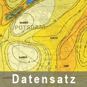 Ausschnitt aus der Geologischen Übersichtskarte 1 : 100 000 Karte ohne Quartär mit Darstellung der Tiefenlage der Quartärbasis Berlin und Umgebung
